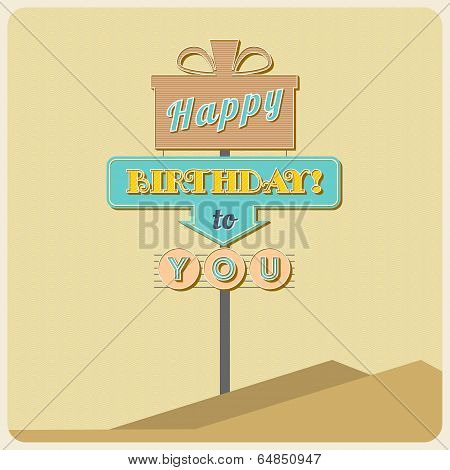 Birthday greetings sign.