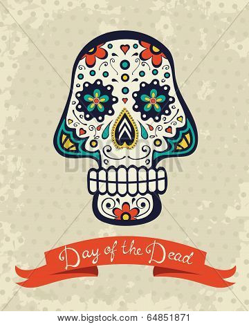 Card with sugar skull