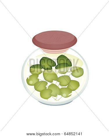 A Jar Of Pickled Common Frogbit Plant