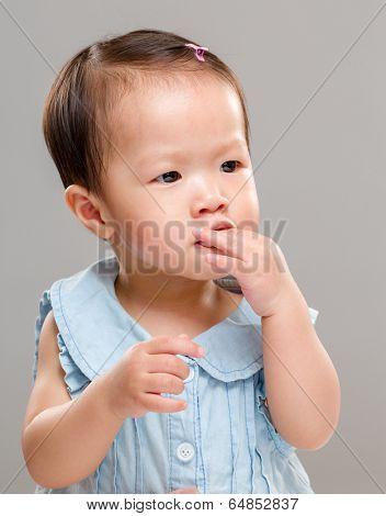 Baby girl suck finger