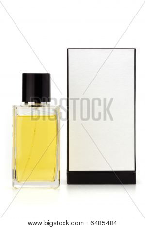 Crystal glass perfume bottle with box isolated on white