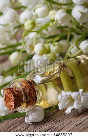Tincture Of Lilies Of The Valley In A Bottle. Macro