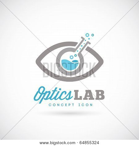 Optic Laboratory Abstract Vector Concept Symbol Icon.