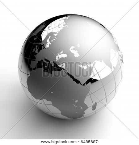 Chrome Globe on white background