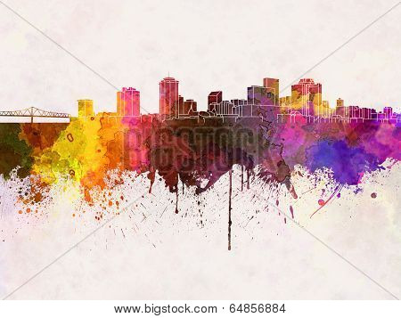 New Orleans Skyline In Watercolor Background