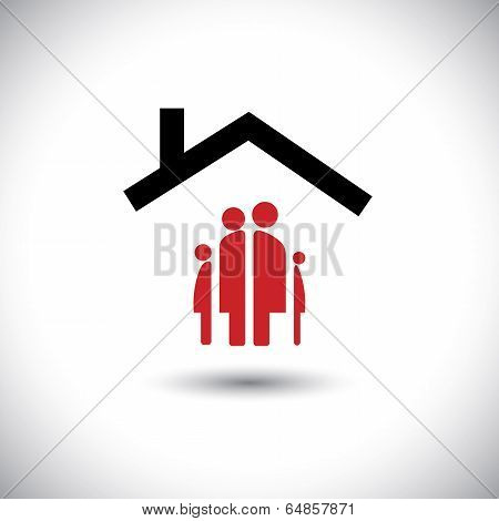 Happy Family & Home Icon Concept Vector