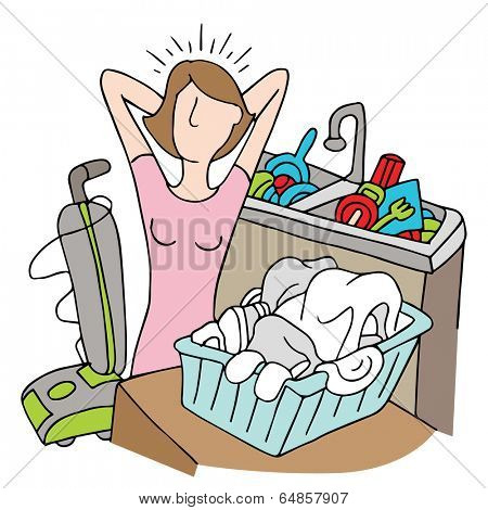 An image of a woman with too many chores.