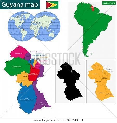Map of the Co-operative Republic of Guyana with the regions colored in bright colors and the main cities