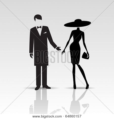 Vector silhouettes of lady and gentleman