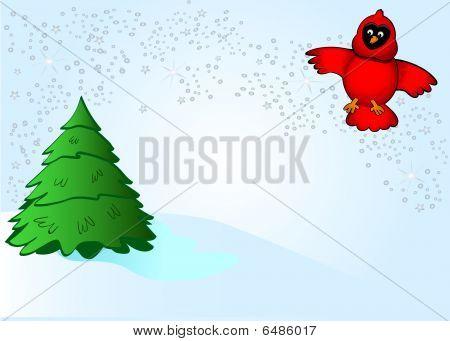 Silver Snow Cardinal