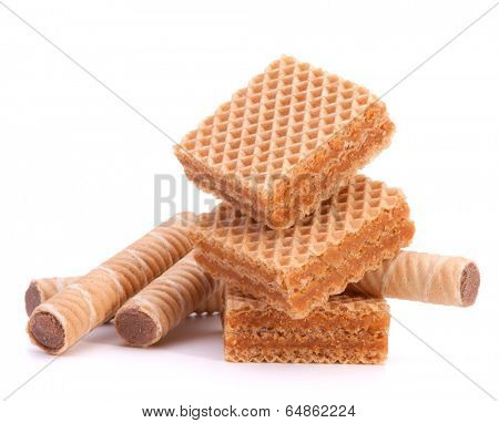Wafers or honeycomb waffles isolated on white background
