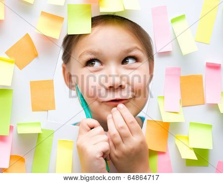 Cute Girl With Lots Of Reminder Notes