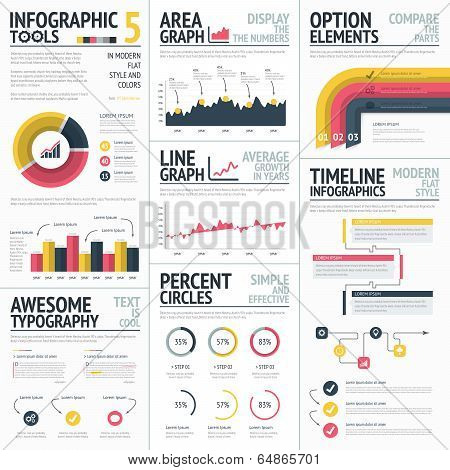 Red and yellow infographic elements set vector