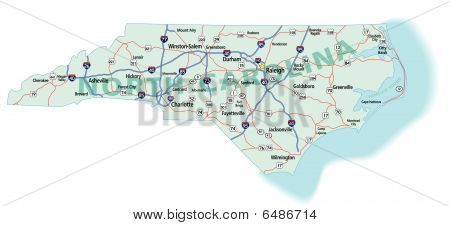 North Carolina State Interstate Map