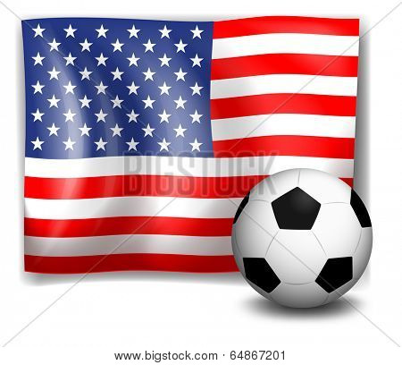Illustration of the flag of America with a soccer ball on a white background