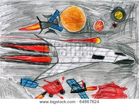 child drawing. space shuttle in universe