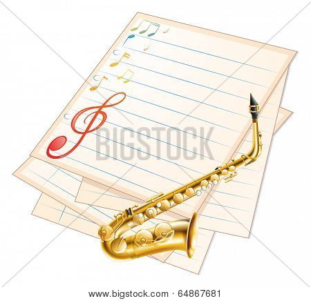 Illustration of an empty musical paper with a saxophone on a white background
