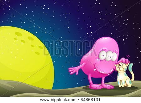 Illustration of a pink beanie monster pacifying the cat in the outerspace