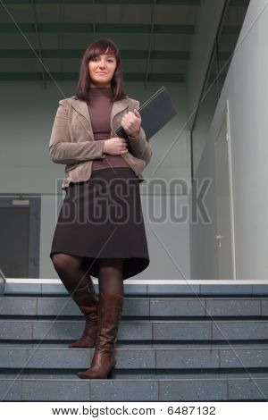 Business Woman On Stairs