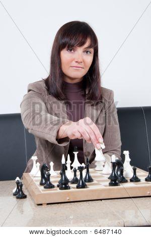 Businesswoman Playing Chess
