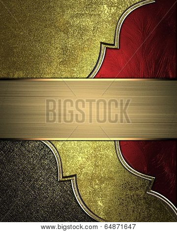 Gold Background With Scuffed, With Red Cutouts, Gold Trim