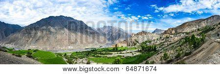 Dhankar gompa panorama. Spiti Valley, Himachal Pradesh, India