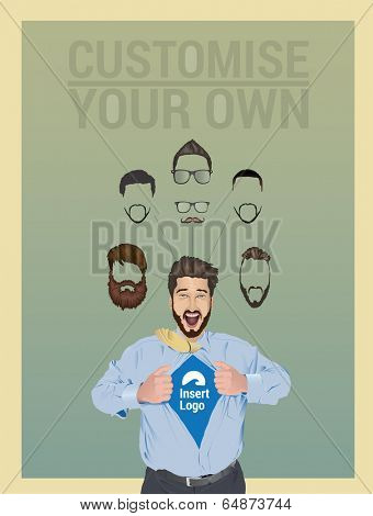Businessman pulling open shirt to reveal logo with custom facial hair and glasses