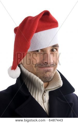 Young Men In A Santa's Hat