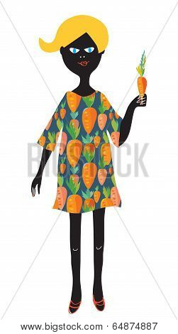 Girl with carrot - vegetarian concept