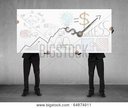 Men Holding Board With Clock Hands And Business Doodles