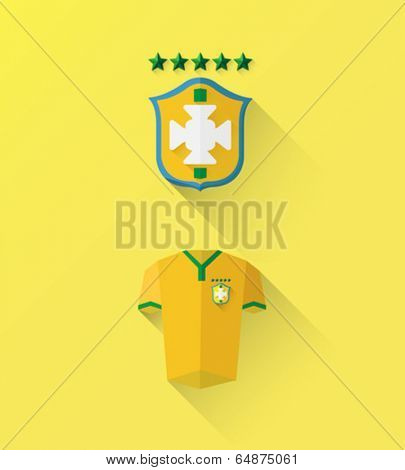 Yellow football jersey and badge vector on yellow background