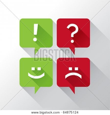 Speech bubbles with punctuation and emoticons in red and green