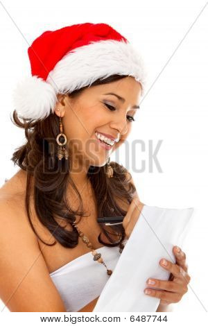 Christmas Woman With Present's List
