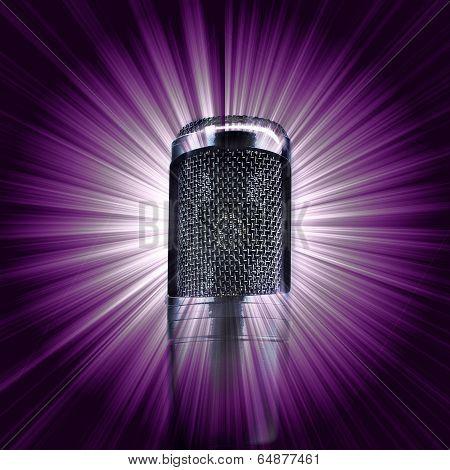 Microphone On  Purple Star Burst