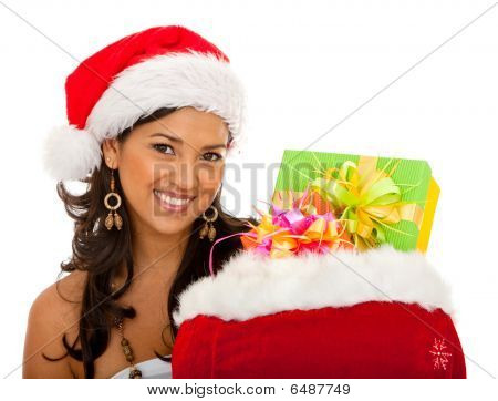 Female Santa With A Gift's Bag