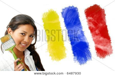 Female Artist Choosing Colors