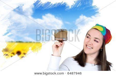 Woman Painting A Field