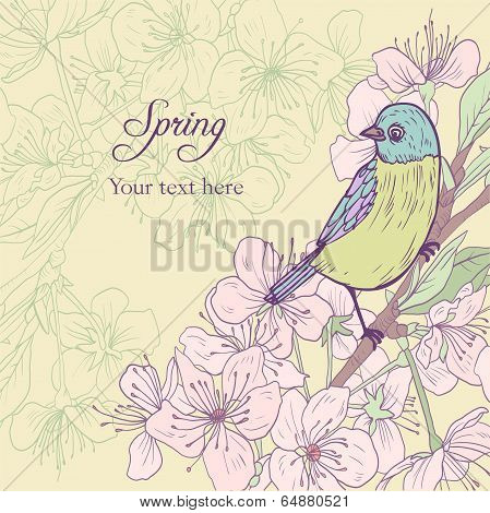 floral card with cherry blossoms and bird