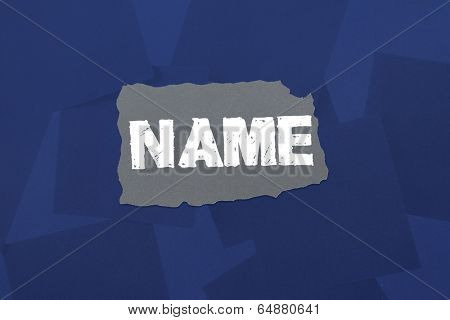 The word name against digitally generated blue paper strewn