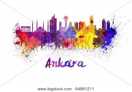 Ankara Skyline In Watercolor