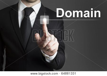 Businessman Pressing Virtual Button Domain