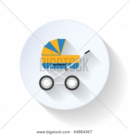 Baby buggy flat icon