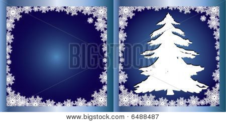 Blue Greetings card Firtree
