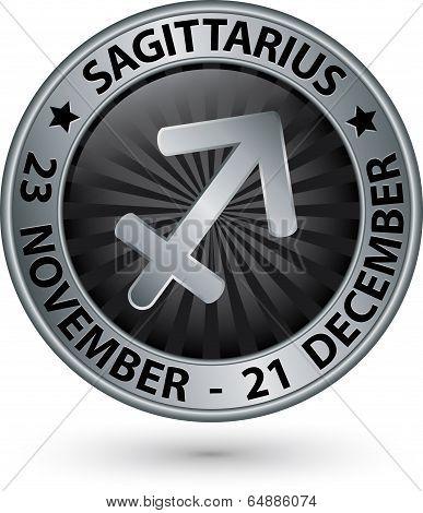 Sagittarius Zodiac Silver Sign, Sagittarius Symbol Vector Illustration