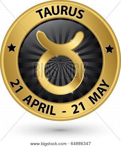 Taurus Zodiac Gold Sign, Taurus Symbol Vector Illustration