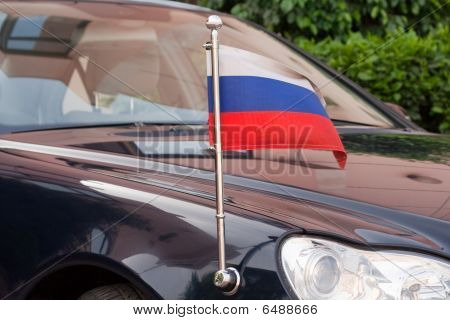 Russian flag at the Russian diplomatic car