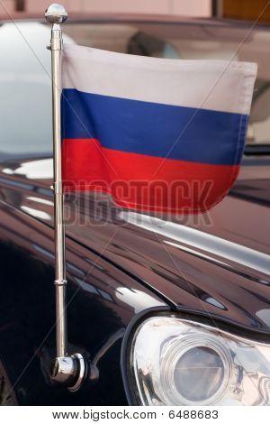 Russian flag at the Russian diplomatic car