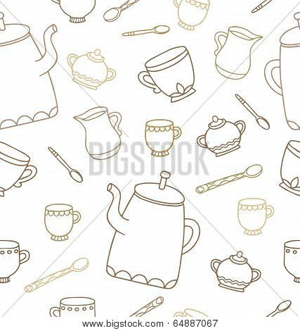 Tea Time Seamless Pattern For Design. Vector Illustration.