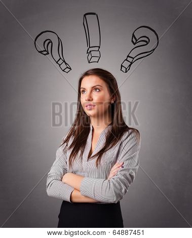 Beautiful young lady thinking with question marks overhead