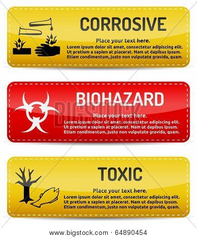 Corrosive, Biohazard, Toxic - Danger Sign Set